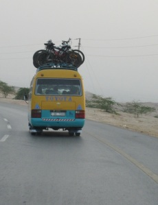 Following the bus down to the Dead Sea
