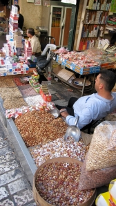 Nuts and candies for sale in the souk
