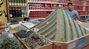 Zaatar Mountain! Spices for sale in the souk