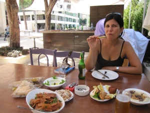 Ozge! Eating our mezze at the Grand Hotel Kadri