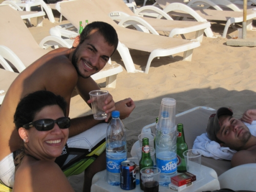 Ozge, Omar and Charles, chilling at the beach