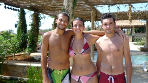 Omar, me and Charles modeling our beautiful beach-wear at Edde Sands (Photo by Ozge)