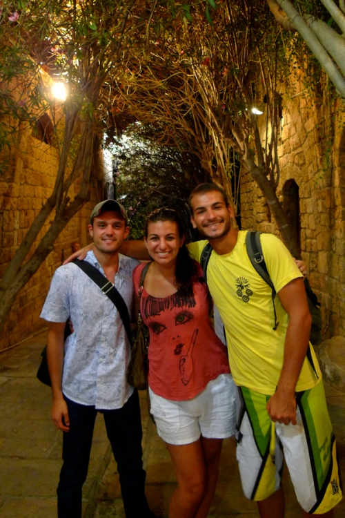 Charles, me and Omar walking around downtown Jbeil. (Photo by Ozge)