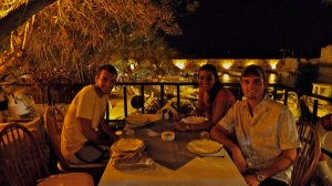 Omar, me and Charles out for dinner at Pepe's in Jbail (Photo by Ozge)