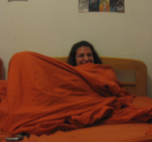 Me, wrapped in my orange sheets, and so happy!