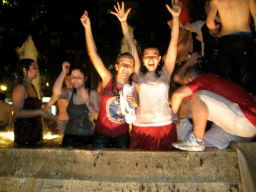 Marisa and I celebrating Spain's EuroCup victory in the Bilbao fountain!